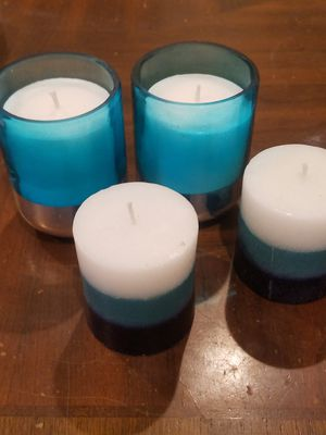 2 Teal, white and dark blue candle. 2 Teal and silvers andle holders with 2 white candle inside. for Sale in Methuen, MA