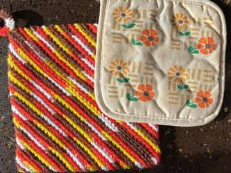 70's Vintage Trivet Hot Pads For Hot Pans 🌻 Authentic Kitsch Pinterest Etsy Boho MCM Hippie Flower Power Flower Child Yellow Red Brown White Handmade for Sale in Los Angeles,  CA