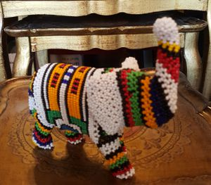 """Vintage Beaded Elephant African Ndebele Scpulpture ~ Beaded 7""""×6.5"""" for Sale in Queens, NY"""
