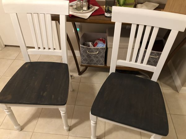 Farm style table and two chairs