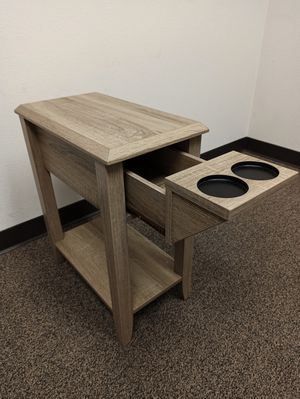 Stylish End Table with 2 Cupholder Space, Dark Taupe for Sale in Norwalk, CA