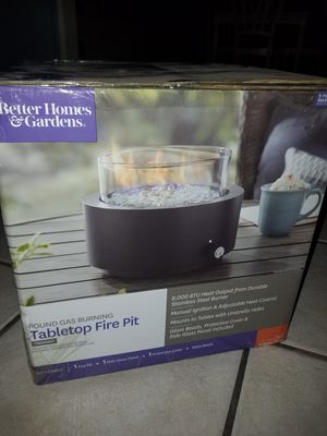 BRAND NEW Better Homes & Gardens round gas burning table top fire pit for Sale in Winter Haven, FL