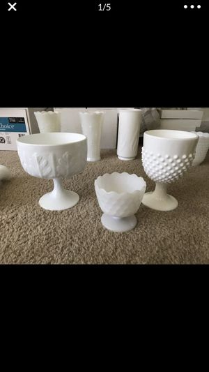 Milk glass vases and goblets for Sale in Richmond, VA