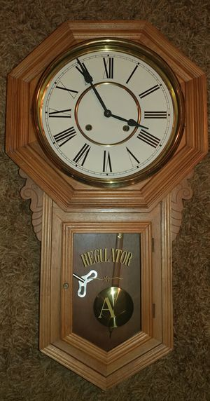 Large Antique Schoolhouse Regulator Wall Clock - WORKS! for Sale in Kenmore, WA