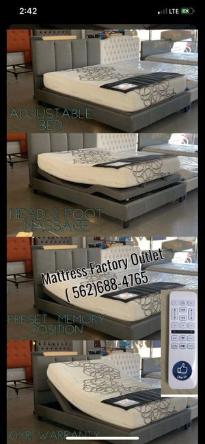 Adjustable Foundation & Gel Memory Foam Mattress (fits most Queen Bed Frames ) for Sale in Bell, CA