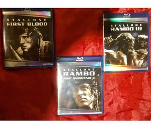 Stallone - First Blood -First Blood part 2- Rambo 3 -blue ray movies asking $10 for all 3 for Sale in Ocoee, FL
