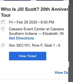 I have 2 Jill Scott tickets February 28 in Indiana over night stay at hotel included for Sale in Cincinnati, OH