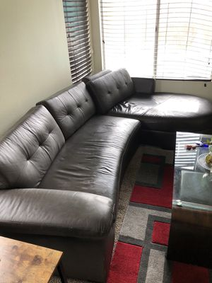 Espresso color 2 piece L shaped living room sectional couch sofa for Sale in Fontana, CA