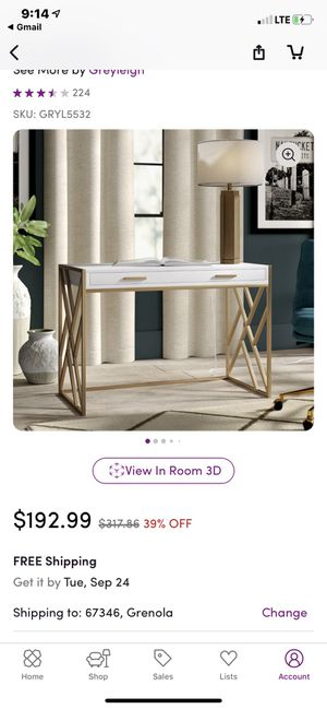 White and gold desk for Sale in Baltimore, MD