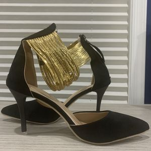 Black W/Gold Ankle Strap Heels for Sale in Fairfax, VA