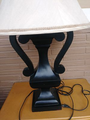 Unique Black Wooden Table Lamp/Large Shade for Sale in Princeton, FL
