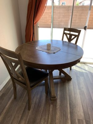 4' round wooden dining table and 2 chairs for Sale in Las Vegas, NV