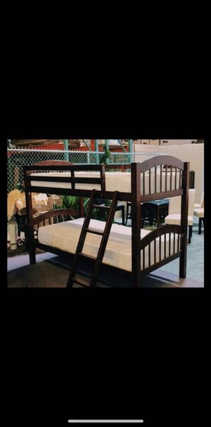 Brand new wood twin/twin bunk bed with plush mattress ( free delivery) for Sale in Dallas, TX