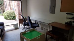 Desks, end table, entertainment center, office chairs, kids play table for Sale in Pflugerville, TX
