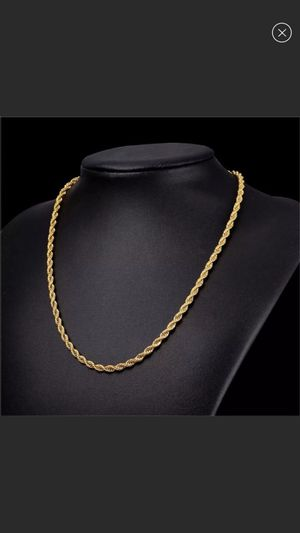 """22"""" New 18k gold plated rope chain for Sale in Buford, GA"""