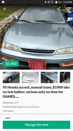 95 Honda Accord 200k manual trans.... $1900....OBO No lowballers and NO TIME ..for Games .. for Sale in Waterbury, CT