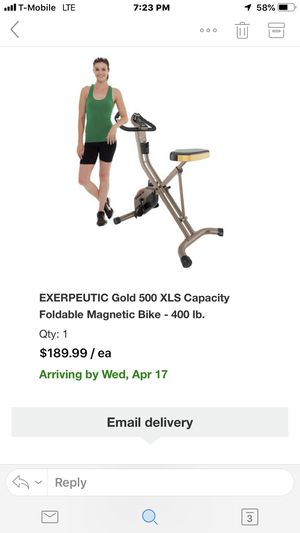 Exerpeutic Gold 500 is foldable exercise bike like new!!! for Sale in Cherry Hill, NJ