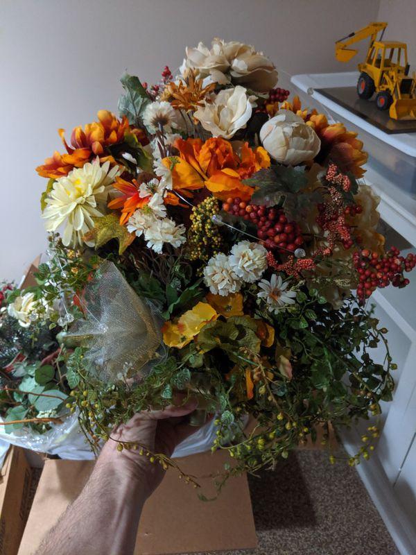 Artificial Flower Arrangements in Fall Colors