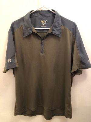 Mountain Hardwear Quarter Zip Polo Shirt Men's SZ XL Tan & Gray Hiking Causal for Sale in Pasco, WA