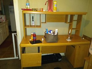 Computer desk for 75 and king size bed frame for $250.00 for Sale in Kansas City, MO