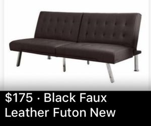 Like New Black Faux Leather Futon for Sale in Laguna Beach, CA