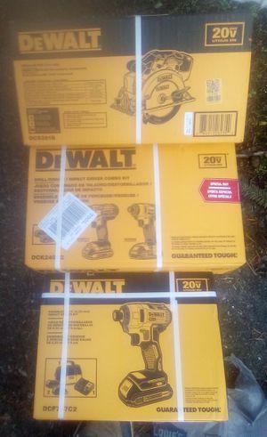 "Brand New Unopened DeWalt 20v Max Drill & Impact Driver Combo kit, Dewalt 20v Max Circular, & Dewalt 20v Brushless ¼"" Impact Driver Kit for Sale in Everett, WA"