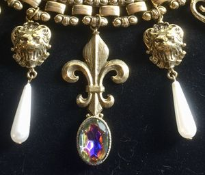 Vintage French necklace (16 inches long) and bracelet (7 inches long) both 1/2 wide metal unknown Fleur de lis and lion head with faux pearl for Sale in Bothell, WA