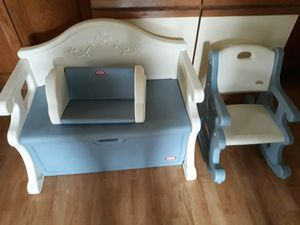 little tikes toy box bench rocking chair and bookshelf for Sale in Westland, MI