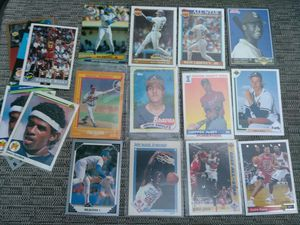 Rare lot vintage Rookie baseball basketball football Braves Jordan Sanders Griffey Avery Chipper upper deck fleer NBA NFL MLB authentic trading cards for Sale in Knoxville, TN
