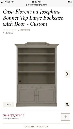 White Casa Florentina Josephina Bonnet Top Large Bookcase with Door - Custom open box brand new it really big piece for Sale in Tolleson, AZ