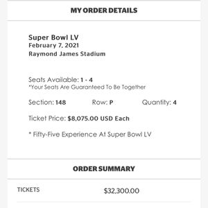 4 DISCOUNTED SUPER BOWL 55 TICKETS for Sale in Carrollton, TX