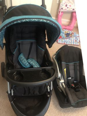 Stroller car seat combo sells for over $200.00 brand new .. makes taking babies along so much easier... car seat attaches to the base that stays in t for Sale in Tallahassee, FL