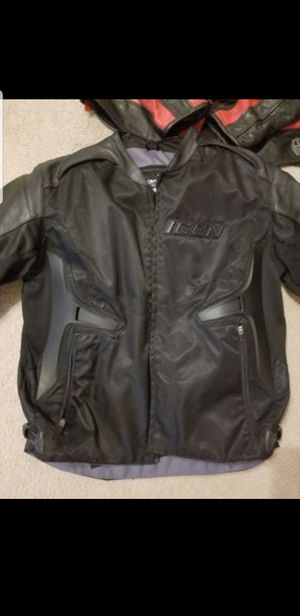 2XL ICON LEATHER/TEXT MOTORCYCLE JACKET for Sale in El Dorado, AR