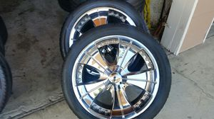 "Wheels and tires 20"" 5 lug universal for Sale in Riverside, CA"