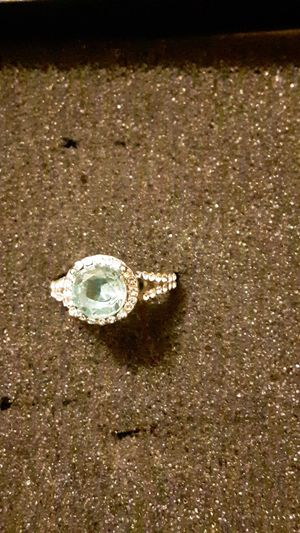Costume ring size 5 1/2 to 6 never worn light blue gem for Sale in Woodstock, VA