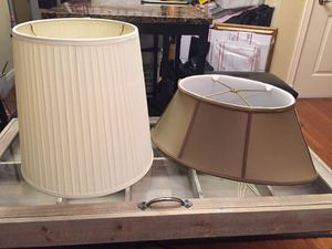 PAIR VINTAGE LAMP SHADES - ONE PLEATED ONE BEIGE SILKY OBLONG - SOLD TOGETHER! for Sale in Lake Worth, FL