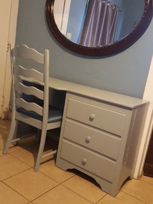 Wood desk vanity and chair grey blue painted 48x30 for Sale in Ontario, CA