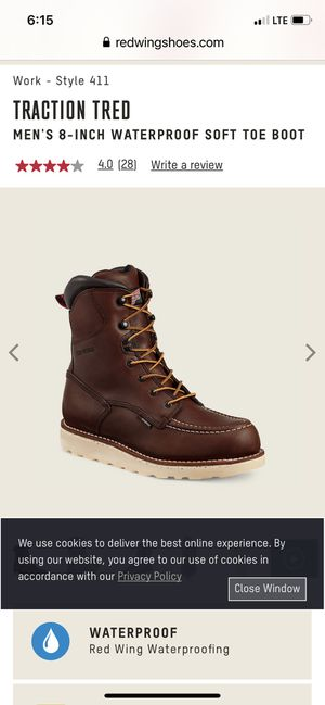 SIZE 7. RED WING TRACTION TRED MODEL 8 INCHES TALL WATERPROOF BOOTS BRAND NEW LEATHER for Sale in Vallejo, CA