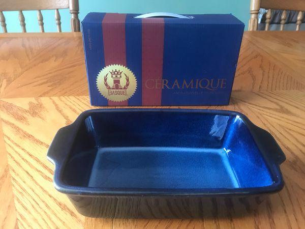 "Andalusian Blue Stoneware 10.5"" Loaf Pan NIB Basque Ceramique Casserole new"