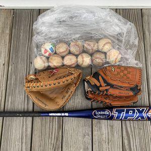 Baseball Bat, Gloves And Balls for Sale in Bridgeport, CT