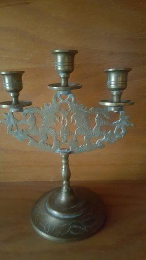 Brass candelabra candle holder dragon engraved detail for Sale in Inglewood, CA