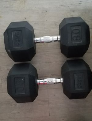 Pair (2) 80/lbs rubber dumbbells for Sale in Miami, FL