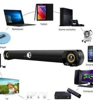 Saxhorn Mini Soundbar Speaker For Computer Desktop Laptop Pc, Usb Powered, Blac for Sale in Rancho Cucamonga, CA