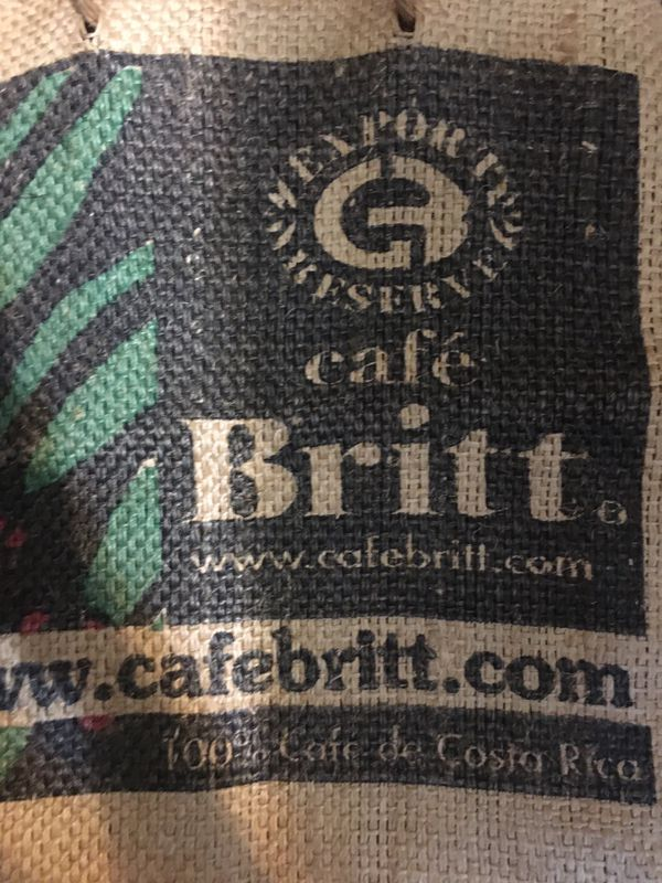 "Cafe Britt Thick Burlap Tote Bag Costa Rica Coffee Bean Sack 16"" X 17"""