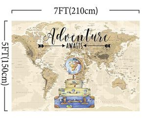 Adventure Awaits Travel Boy Baby Shower Party Decorations Backdrop Vintage World Map Around World Airplane Photography Background Photo Banner for Po for Sale in Rialto, CA