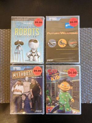 Discovery Channel [7 DVD] Lot - Mythbusters, Essential Robots collection, Sid the Science Kid, Future Weapons (Family/Educational) for Sale in Huntington Beach, CA