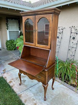 """VINTAGE 2PC. SECRETARY DESK CABINET / KITCHEN CUPBOARD / DISPLAY CASE / ENTRYWAY PIECE / BAR CABINET (36""""W×19""""D×76""""H) (DISPLAY ITEMS NOT INCLUDED) for Sale in Corona, CA"""