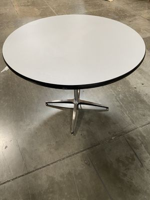 "40"" Round Grey laminate Pedestal Table / Desk / great for Nails and home school / home office table - Table top used and NEW base, coupler and post - for Sale in Ontario, CA"