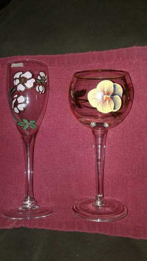 Hand Painted- Antique Crystal Glasses for Sale in Ville Platte, LA