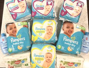 Pampers size 3 huggies wipes Johnson and Johnson bubble bath for Sale in Yorktown, VA